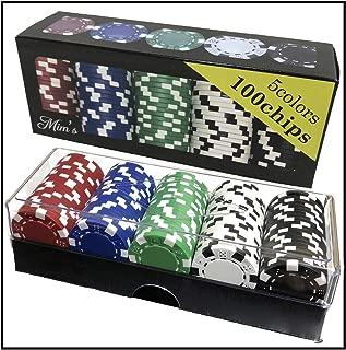 [B.H] 本格派 カジノチップ 100枚 《 アクリルケース & 箱付き》 無地 おしゃれ 重量感 ポーカーチップ 1年保証 (Cool color)
