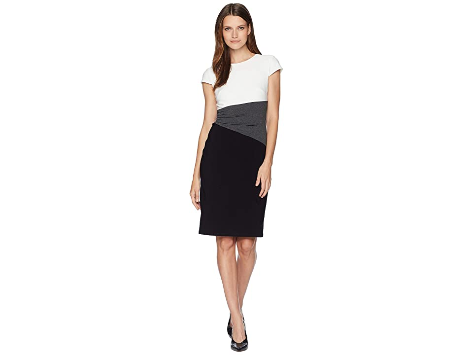 LAUREN Ralph Lauren Fenton Matte Jersey Cap Sleeve Day Dress (Black/Heather Grey/Lauren White) Women
