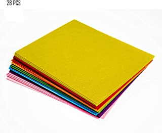 Woolous 28 pcs 10X8 Inch(25.5X20.4cm) Assorted Color Non Woven Felt Fabric Sheets Patchwork Sewing Square DIY Craft 1mm Thick