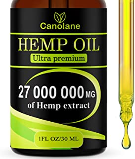 Hemp Oil Drops, 27 000 000 mg, Natural CO2 Extracted, 100% Organic, Pain, Stress, Anxiety Relief, Reduce Insomnia, Vegan F...