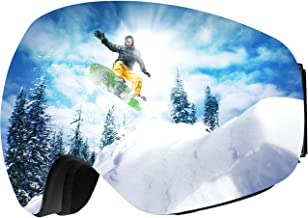 OMORC OTG Ski Goggles, Anti-Fog Snowboard Goggles with Spherical Dual Lens, 100% UV400 Protection Snow Goggles for Men Women Youth - Helmet Compatible