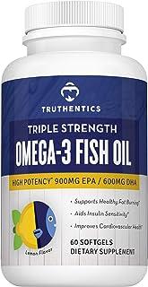 TRUTHENTICS Omega 3 Fish Oil 2500mg - Triple Strength High Omega-3 Fatty Acids - EPA 900mg + DHA 600mg - Promotes Healthy ...