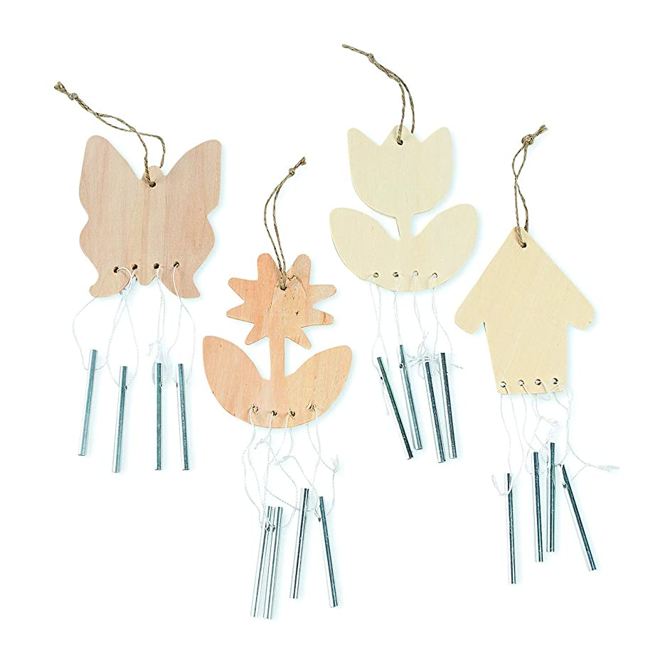 Fun Express - DIY Wood Spring Wind Chimes for Spring - Craft Kits - DYO - Wood - Misc DYO - Wood - Spring - 12 Pieces