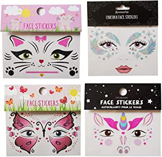 Spestyle tattoo stickers 4pcs face stickers in 1 package, it including unicorn face sticker,beautiful face sticker,butterfly face sticker and cat face sticker.