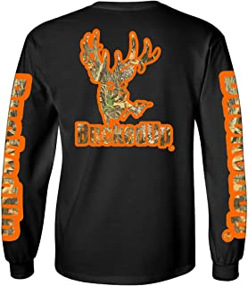 BuckedUp Long Sleeve Black with Orange Camo Logo