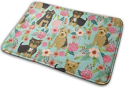 """Yorkshire Terrier Florals Flower Cute Yorkie Dog Cute Mint Florals Baby Nursery Sweet Girls For Yorkie Owners _28087 Doormat Entrance Mat Floor Mat Rug Indoor/Outdoor/Front Door/Bathroom Mats Rubber Non Slip 23.6"""" X 15.8"""""""