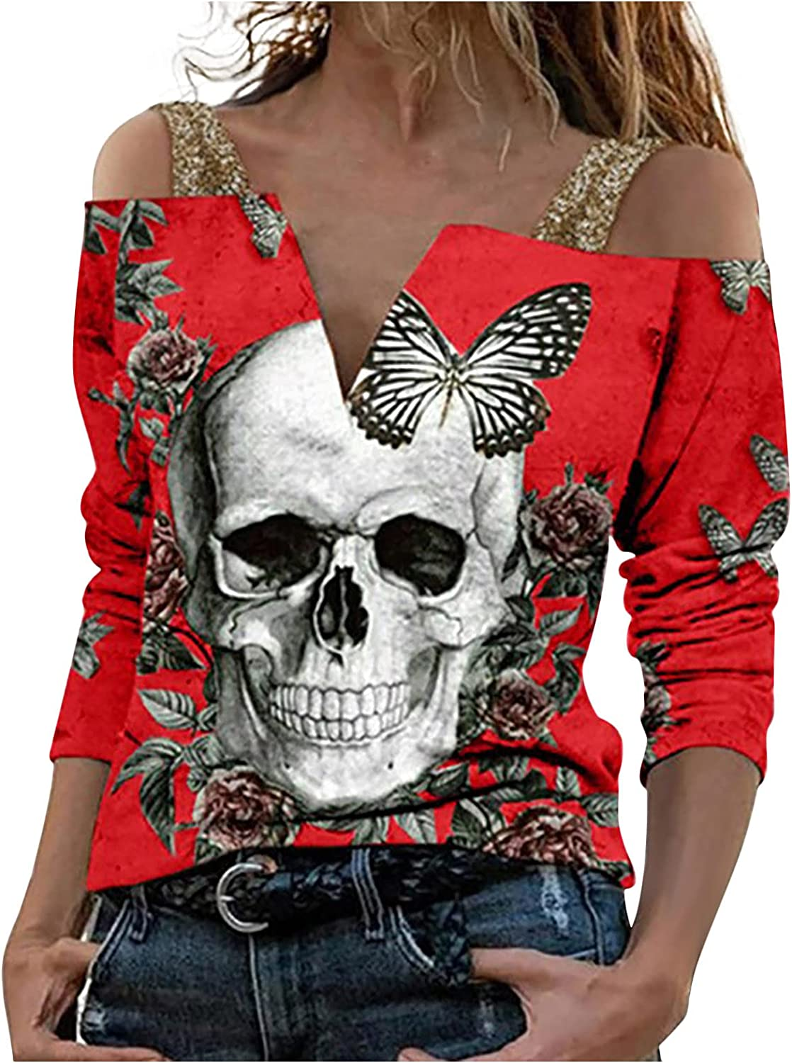 TIMIFIS Off The Shoulder Tops for Women Halloween Long Sleeve Blouses Fashion Skull Print Shirts Casual Sweatshirt