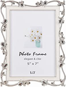 L&T Metal Picture Frame Silver Plated with Cream White Enamel and Jewels 5x7 Inch, Ideal Anniversary Wedding Photo Frame