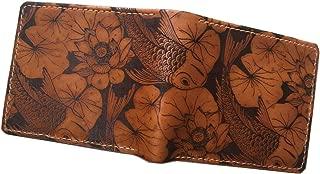 Koi Fish genuine leather handmade men's wallet, personalized men's gift, anniversary Japanese gift for him - 1P