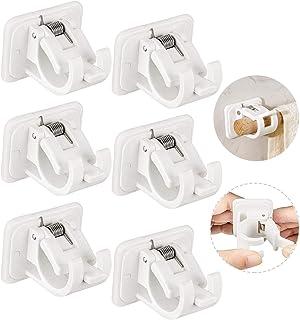 Lot de 6 supports de tringle à rideaux autocollants en plastique pour salle de bain ou buanderie Blanc