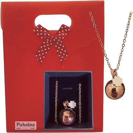 PICHOLINO - Bola de Grossesse   Pendentif avec une mélodie unique   Coffret cadeau original pour femme enceinte   Collier plaque or rose avec chaine et carillon  Chaine avec sautoir ajustable (114 cm)