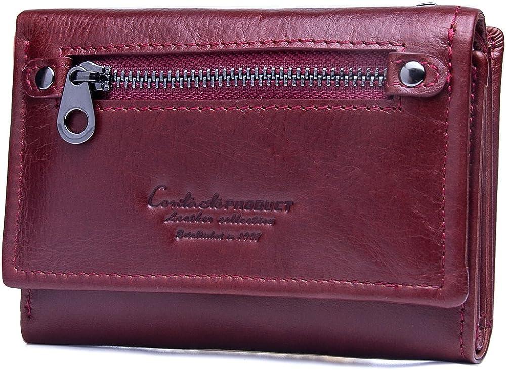 Contacts - portafogli da donna con porta carte di credito in vera pelle rosso2