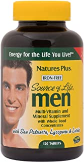 NaturesPlus Source of Life Men Multivitamin - 120 Vegetarian Tablets - Whole Food Supplement - Natural Energy Production &...
