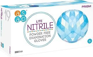 ASAP Prism Lite Nitrile Powder Free Examination Gloves, Disposable, 3 mil, Blue (Box of 300) (Small)