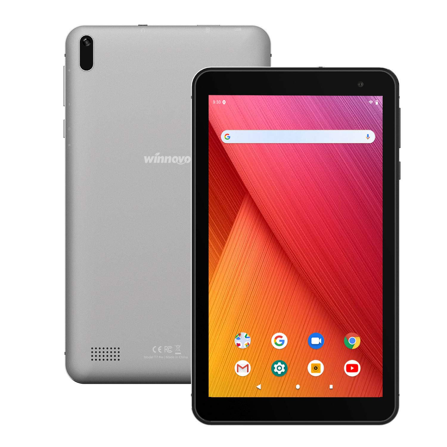 Tablet 7 Inch with Android 9.0 - Winnovo T7 Pro Tablets PC 5G Wi-Fi Quad-Core Processor 2GB RAM 32GB Storage IPS HD Display Bluetooth GPS FM (Grey)