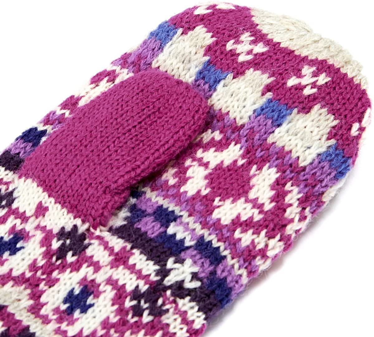 Joules Fair Isle Gloves Mittens - Ruby