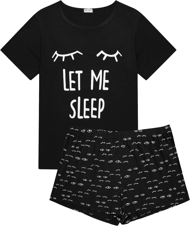 SWOMOG Women's Pajama Sets Cute Sleepwear Teen Girl Cartoon Sleep Tee and Shorts Pjs Sets