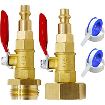 Garden Hose Water Lines,boat Vignee Blowout Adapter Kit for Winterize RV-1//4 Male Quick Connect Plug /& 3//4 Female GHT Thread,3//4 Inch Male Garden Hose Thread,with Ball Valve and 2 Pcs Washers for RV