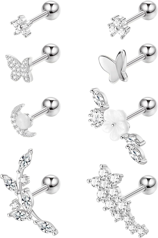 BodyBonita 8Pcs Cartilage Earrings for Women Stainless Steel Stud Earrings Forward Helix Tragus Conch Piercing Jewelry