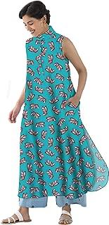 RADANYA Butterfly Printed Casual Summer Long Tops Tunic Kurta Kurti for Women's