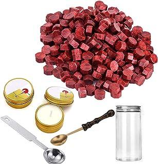 240pièces Octagon d'étanchéité Cire de perles avec de la cire 1pièce en cuivre Cuillère à la Fonte et 2pièces à thé Bou...