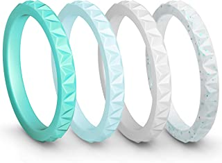 Womens Triangle Diamond Stackable Rings 4 Pack Thin Silicone Wedding Rings - 2.5mm Wide - 2mm Thick