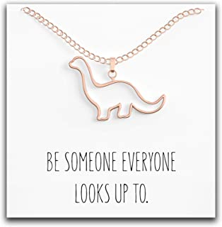 Dinosaur Brontosaurus Necklace - Cute Pendant Gift - Sweet & Funny Message Card – Also Looks Like Eobrontosaurus or Apatosaurus