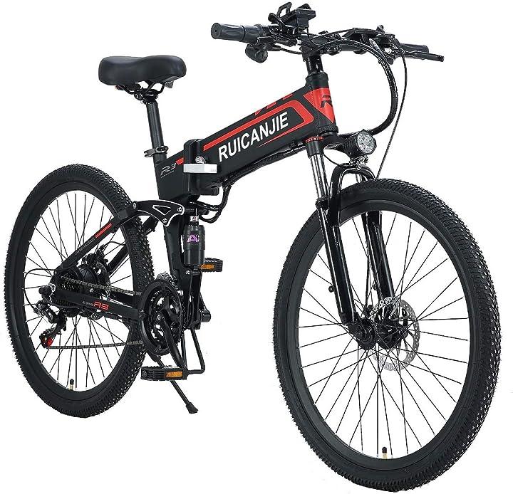 Bicicletta pieghevole elettrica da 26 pollici a 21 velocità per mountain bike da 350 w songzo B08P22PSKH
