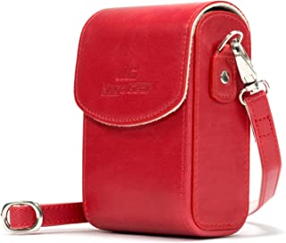 MegaGear MG1214 Leather Camera Case with Strap compatible with Panasonic Lumix DC-ZS70, DMC-LX10, DMC-ZS60, DMC-ZS100, DMC-LX15, DC-TZ95, DC-TZ90, DMC-TZ80, DMC-TZ100 - Red