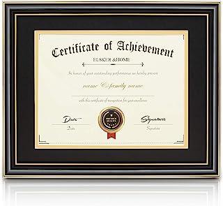 ELSKER&HOME 8.5×11 Document Frame – High Gloss Black Wood Color Frame –..
