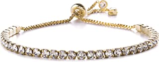 Devin Rose Adjustable Bolo Style Tennis Bracelet for Women Made with Swarovski Crystal