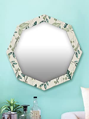 999Store Printed Green Leaves Pattern Octagon Mirror (MDF_24X24 Inch_Multi)