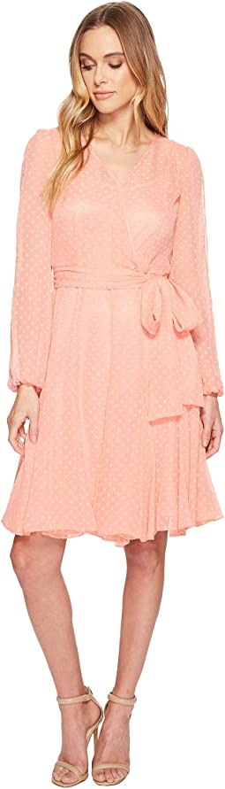 Tahari by ASL Split-Sleeve Wrap Swiss Dot Dress