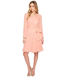 Split-Sleeve Wrap Swiss Dot Dress