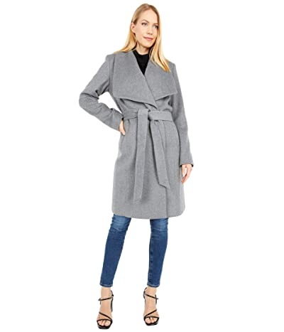 Cole Haan 39 Slick Wool Wrap Coat with Exaggerated Collar (Mid Grey) Women