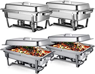 Mophorn Chafing Dish 4 Packs 8 Quart Stainless Steel Full Size Rectangular Chafers for Catering Buffet Warmer Set with Folding Frame