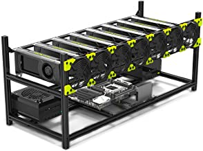 Mining Case 8 GPU Stackable Preassemble Rig Aluminum Open Air Frame for Ethereum(ETH)/ETC/ZCash/Monero/BTC Easy Mounting E...