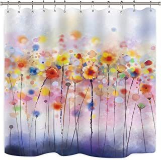Riyidecor Watercolor Herbs Shower Curtain Colorful Blossom Plants Floral Soft Multi Colors Blurred Style Decor Fabric Set Polyester Waterproof Fabric 72x72 Inch Plastic Hooks 12 Packs Included
