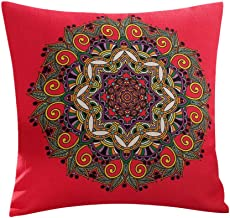 45cm Classic Flower Printed Bamboo Linen Cushion Cover Home Textiles Supplies Lumbar Pillow Decorative (Red Circle)