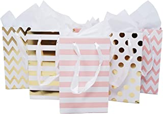 Paper Favor Gift Bags for All Events & Parties w/Satin Ribbon Handles + Decorative Tissue Paper, 12 Count (Pink, Gold Mylar)