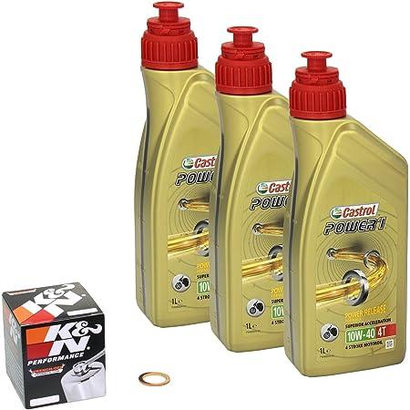 Castrol Power1 10w 40 Ölwechsel Set Yamaha Fzs 1000 Fazer Bj 01 04 Motoröl K N Chrom Ölfilter Und Dichtring Auto