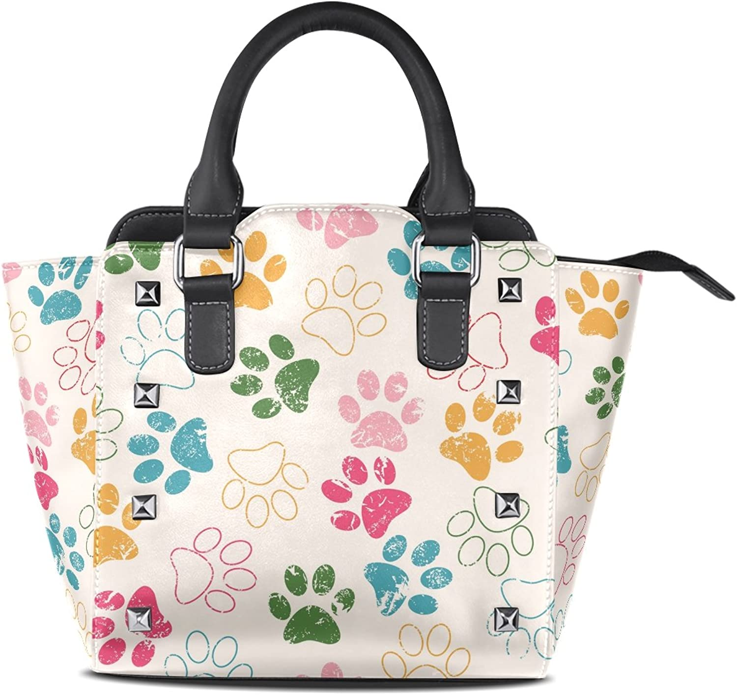 Sunlome Cat Dog Grunge Paws Footprints Print Women's Leather Tote Shoulder Bags Handbags