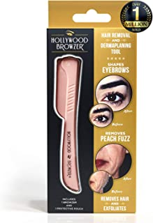 HOLLYWOOD BROWZER Dermaplaning Blade for Face, Eyebrow Shaping, Removing Unwanted Hair, Exfoliating Tool for Women - Rose ...