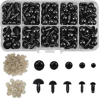 AvoDovA 191PCS Noir Yeux de Securite en Plastique, 6-12MM Coloré Yeux avec Rondelles, Yeux en Plastique Yeux de Poupée pou...