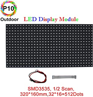 P10 Normal Outdoor Series LED Module, LED Board Full RGB Digital Pixel Matrix Board with 512 dots, 1/2 Scan, 5000 Nits Brightness for Outdoor Display Size: 320164mm
