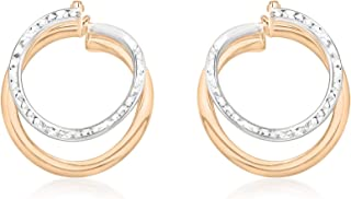 Carissima Gold Damen-Creolen 9ct Two Colour Diamond Cut Front-Facing Double Hoop Earrings 375 Bicolor-2.51.1539