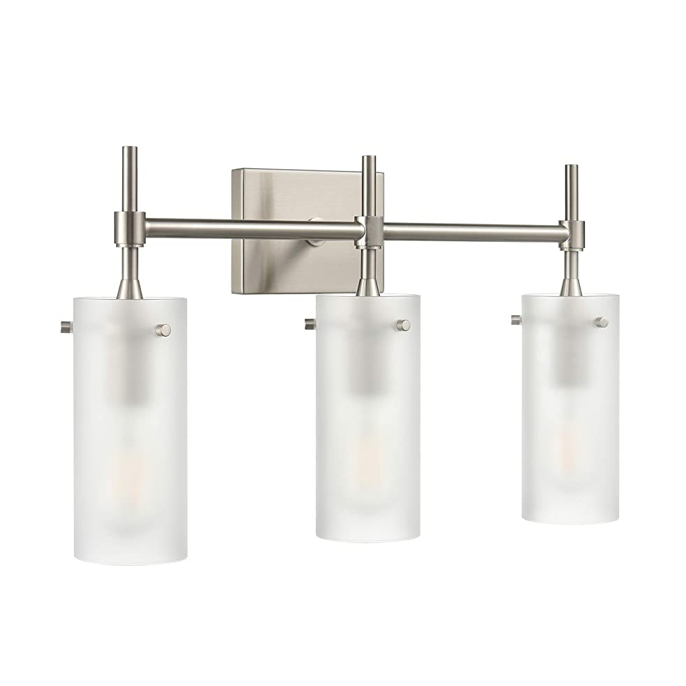 Effimero 3 Light Bathroom Vanity Light | Brushed Nickel Hallway Wall Sconce, Frosted Glass Shades LL-WL33-FRST-1BN