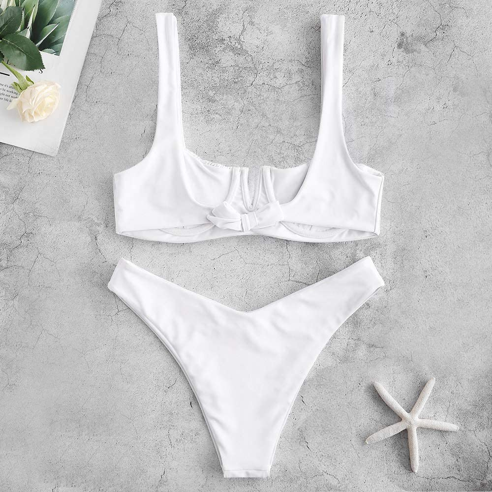 ZAFUL Women's Smocked Tie Shoulder Bikini Set Shirred Underwire Two Pieces Swimsuit