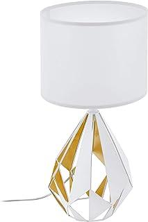 EGLO Lámpara de Mesa, Acero, Color Blanco y Dorado