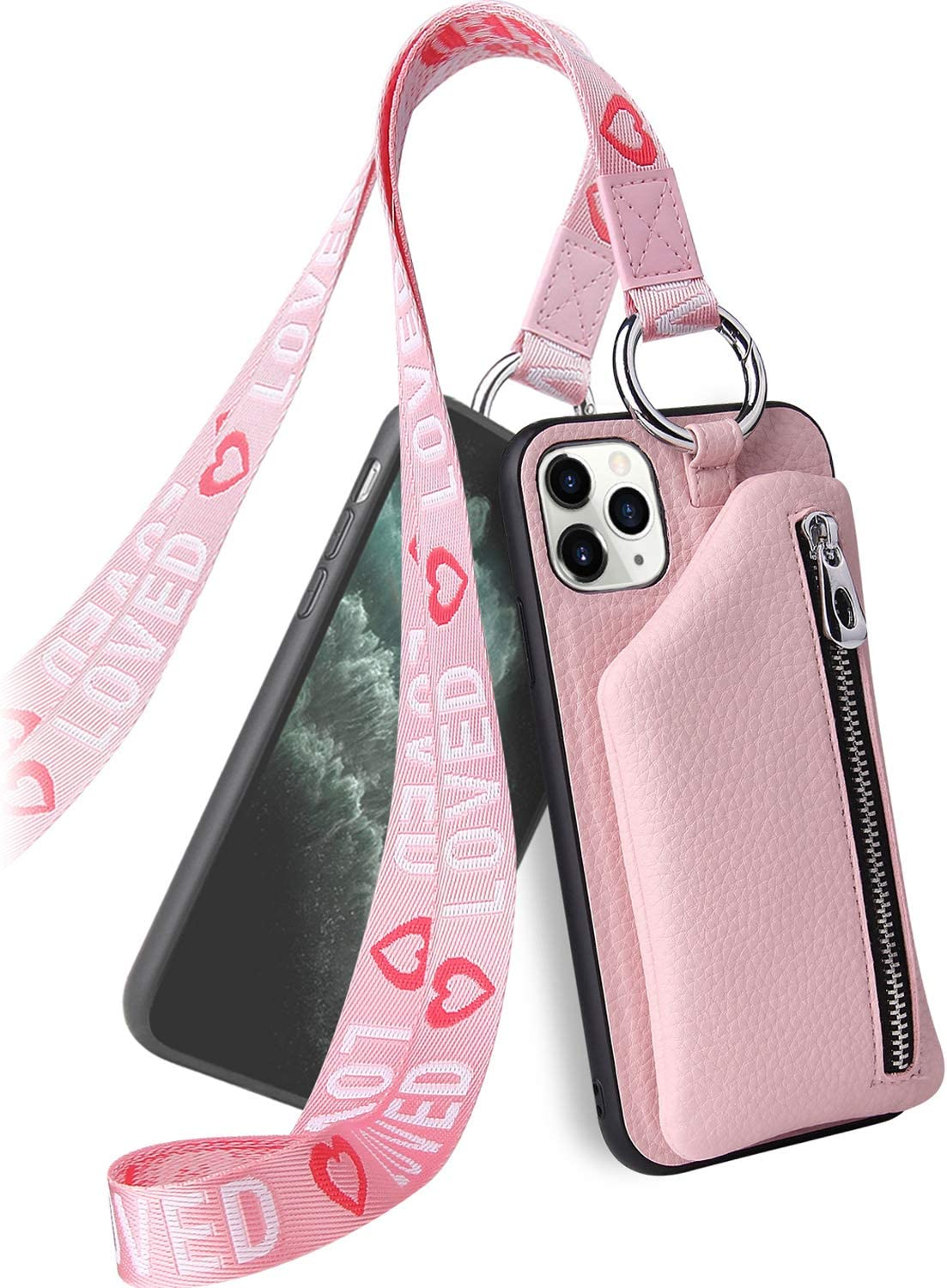LUVI Detachable Wallet Case for iPhone 11 Pro PU Leather Case with Neck Strap Crossbody Wrist Strap Lanyard Cash Key Pocket Protective Cover with Credit Card Holder Case for iPhone 11 Pro Pink